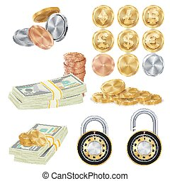 Money Secure Concept Vector. Metal Coin, Money Banknotes Stacks, Encryption Padlock. Dollar, Euro, GBP, Rupee, Franc, Yuan, Won. Commercial Investment Illustration Isolated On White Background