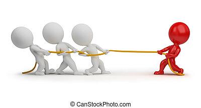 3D, pequeno, pessoas, -, corda, puxando