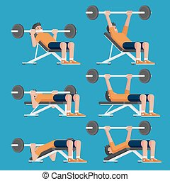 Set of man in weight training chest workout poses. Incline,...