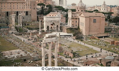 Panorama of Rome in Italy with Arch of Septimius Severus,...