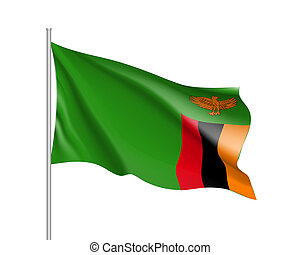 National flag Republic of Zambia. - Waving flag Republic of...