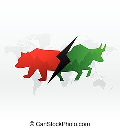 stock market concept design with bull and bear for profit and loss