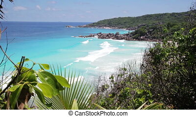 Seychelles, La Digue island - Seascape view with a huge...