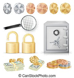 Money Secure Concept Vector. Gold, Silver, Copper Metal Coins, Money Banknotes Stacks, Encryption Padlock, Safe, Realistic Magnifying Glass.