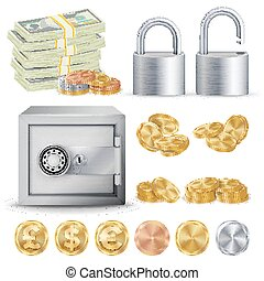 Finance Secure Concept Vector. Gold, Silver, Copper Metal Coins Blank, Money Banknotes Stacks, Padlock, Safe. Dollar, Euro, GBP Business Investment Illustration Isolated
