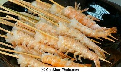 Hot Shrimps On Black Plate