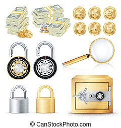 Finance Secure Concept Vector. Gold Coins, Money Banknotes Stacks, Encryption Padlock, Safe, Magnifying Glass. Dollar, Euro, GBP, Bitcoin, Litecoin, Etherum. Banking Illustration Isolated On White