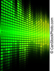 Abstract Background - Green Graphic Equalizer on Black...