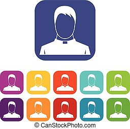 Priest icons set vector illustration in flat style in colors...