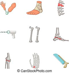 Surgical intervention icons set, cartoon style - Surgical...