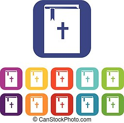 Bible icons set vector illustration in flat style in colors...