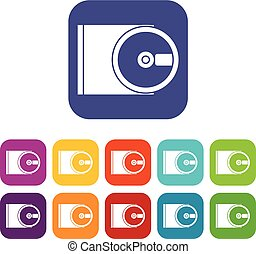 DVD drive open icons set vector illustration in flat style...