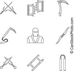 Ninja arsenal icons set, outline style - Ninja arsenal icons...