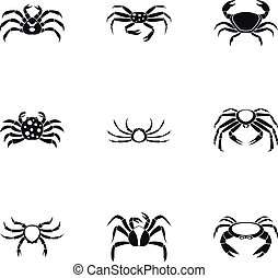 Overland crab icons set, simple style - parts icons set....