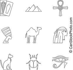 Egyptian pyramids icons set, outline style - Egyptian...