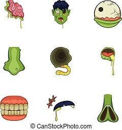 Zombie icons set, cartoon style - Zombie icons set. Cartoon...