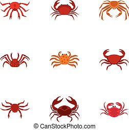 Overland crab icons set, cartoon style - Overland crab icons...
