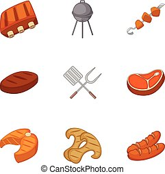 Cooking on barbecue icons set, cartoon style - Cooking on...