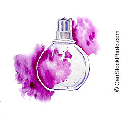 Perfume with spash on the white background