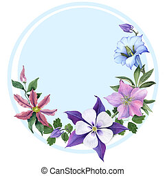 Floral Greeting Card with Aquilegia, hellebore and clematis