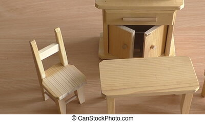 Miniature wooden toy furniture for children. Wooden doll...
