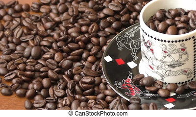 Coffee beans, coffee beans on wooden table, coffee beans...