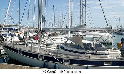 Summer yacht port sky water - Yacht club, port, harbor. Calm...