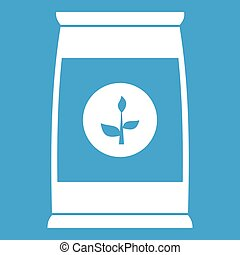 Flower seeds in package icon white isolated on blue...