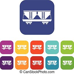 Freight railroad car icons set vector illustration in flat...
