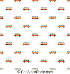 Mini bus pattern seamless repeat in cartoon style vector...
