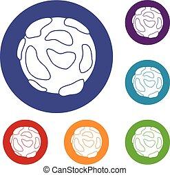 Beautiful planet icons set