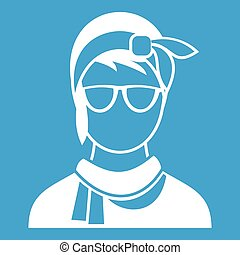 Hipster woman icon white