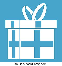 Gift in a box icon white