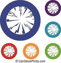 Dangerous planet icons set in flat circle red, blue and...