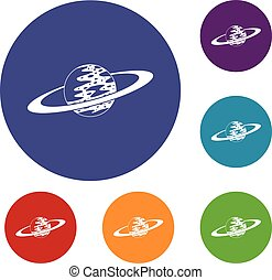 Saturn icons set in flat circle red, blue and green color...