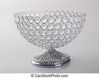 bowl or empty crystal bowl on the background. - bowl or...