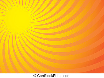 Summer Background - Yellow Rays on Gradient Background