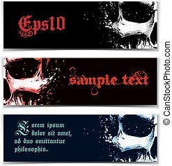 Skull Artistic Splatter Banners Black Red Blue