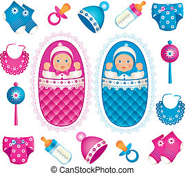 Twins with accessories - Illustration of cute twins with...