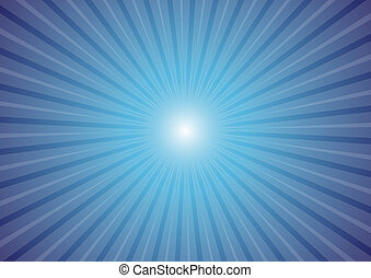 Sun Rays - Hot Summer Background - Sun Rays on Blue...