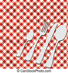 Italian Food Menu Card - Cutlery on Red Gingham