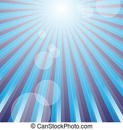 Sun Rays - Summer Background - Sun Rays on Blue Background