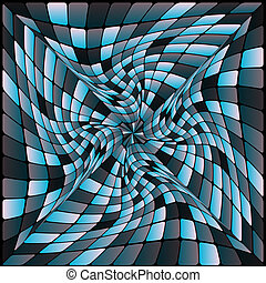 Abstract Background - Twisted Cubes in Shades of Blue on...