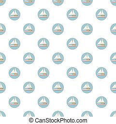 Speed boat with sail pattern seamless repeat in cartoon...