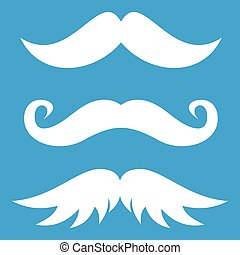 Moustaches icon white isolated on blue background vector...