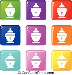 Urn set 9 - Urn icons of 9 color set isolated vector...
