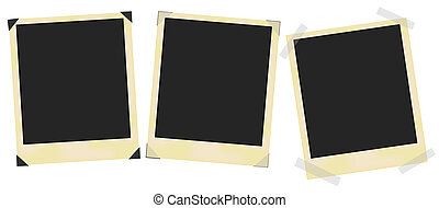 Photo Frames - Set of blank vintage photo frames on white