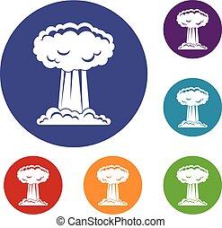 Mushroom cloud icons set