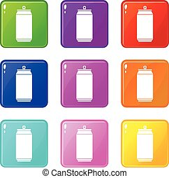 Can set 9 - Can icons of 9 color set isolated vector...
