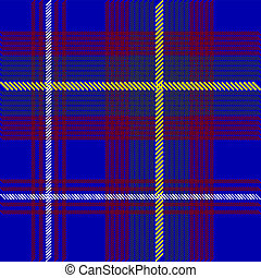 Blue Tartan - Illustration - Detail of Blue Tartan Fabric...